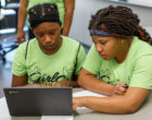 High school girls taking part in a summer STEM program through the School of Education at IUPUI on Friday June 14, 2019.